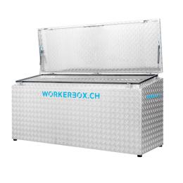 Workerbox Alu-Riffelblech WOBO140CS, Deckel schräg, nach oben öffnend, Aussenabmessungen in mm: B=1400, T=670, H1=850, H2=750, Nutzlast 270 Kg, Gewicht 43 Kg.