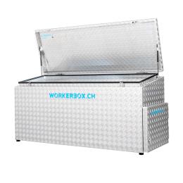 Workerbox Alu-Riffelblech WOBO185CST, Deckel schräg, nach oben öffnend,mit seitlicher Türe rechts, Aussenabmessungen in mm: B=1850, T=670, H1=850, H2=750, Nutzlast 270 Kg, Gewicht 58 Kg.