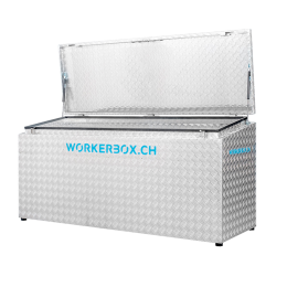 Workerbox Alu-Riffelblech WOBO180CS, Deckel schräg, nach oben öffnend, Aussenabmessungen in mm: B=1800, T=670, H1=850, H2=750, Nutzlast 270 Kg, Gewicht 53 Kg.